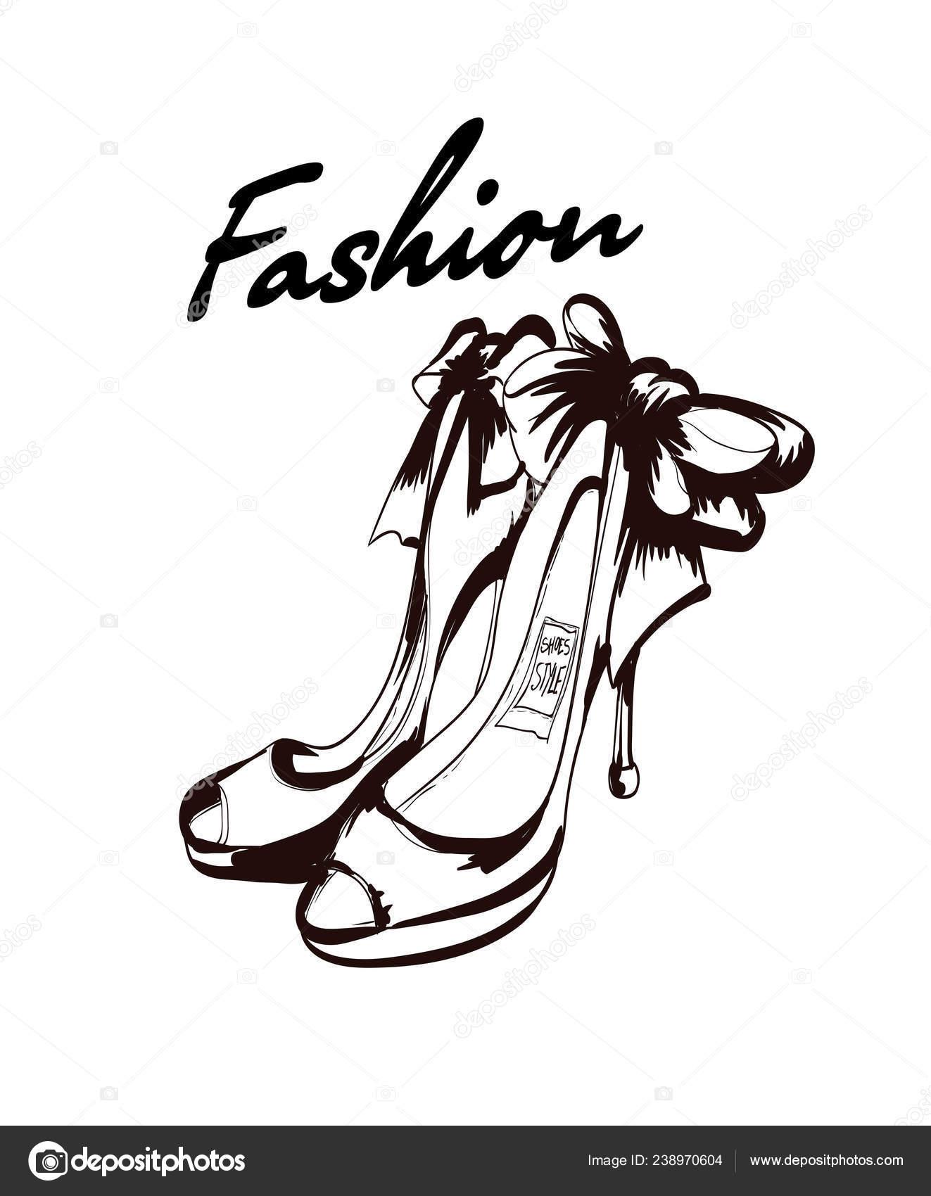 4a75168d Zapatos Mujer Moda Ilustración Vector Zapatos Verano Hermoso Accesorios Moda  — Vector de stock