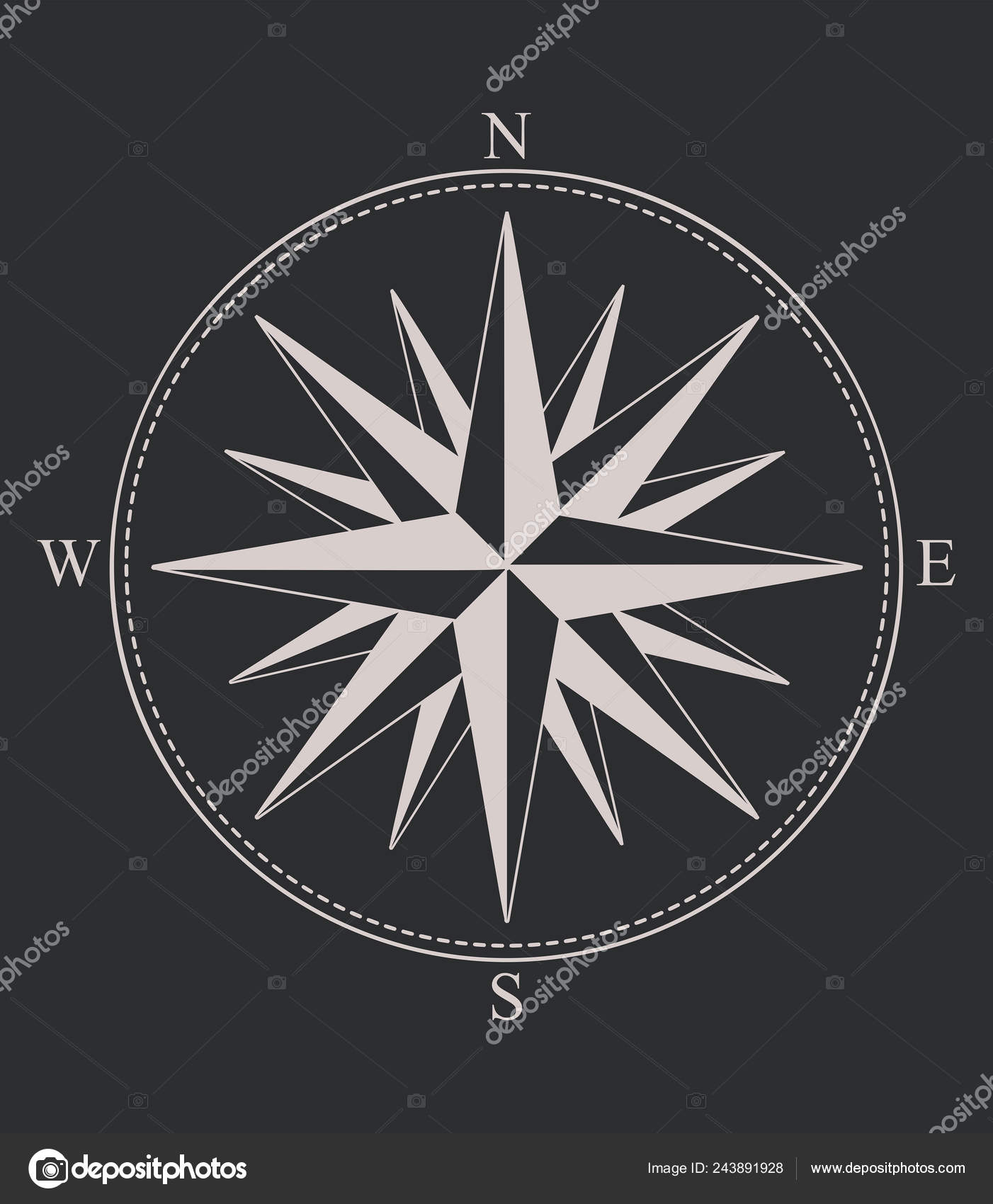 Compass Rose Windrose Rose Winds Flat Icon Apps Websites