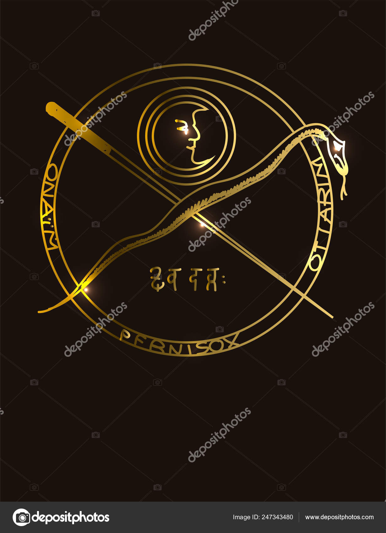 Illustration Golden Occult Symbol Magical Inscriptions Signs