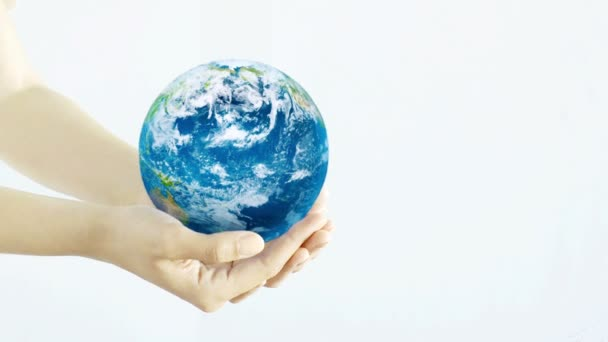 Hands holding the Planet. Young adult hands holding the globe on white background.