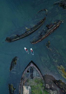 Ship graveyard. Teriberka, Kola Peninsula, Russia. Aerial view.