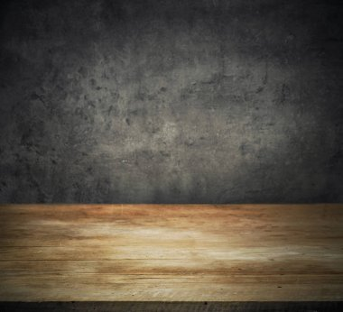 Old wood kitchen table top and dark wall background stock vector
