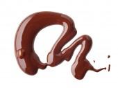 Fotografie geschmolzene Schokolade auf weißem Hintergrund