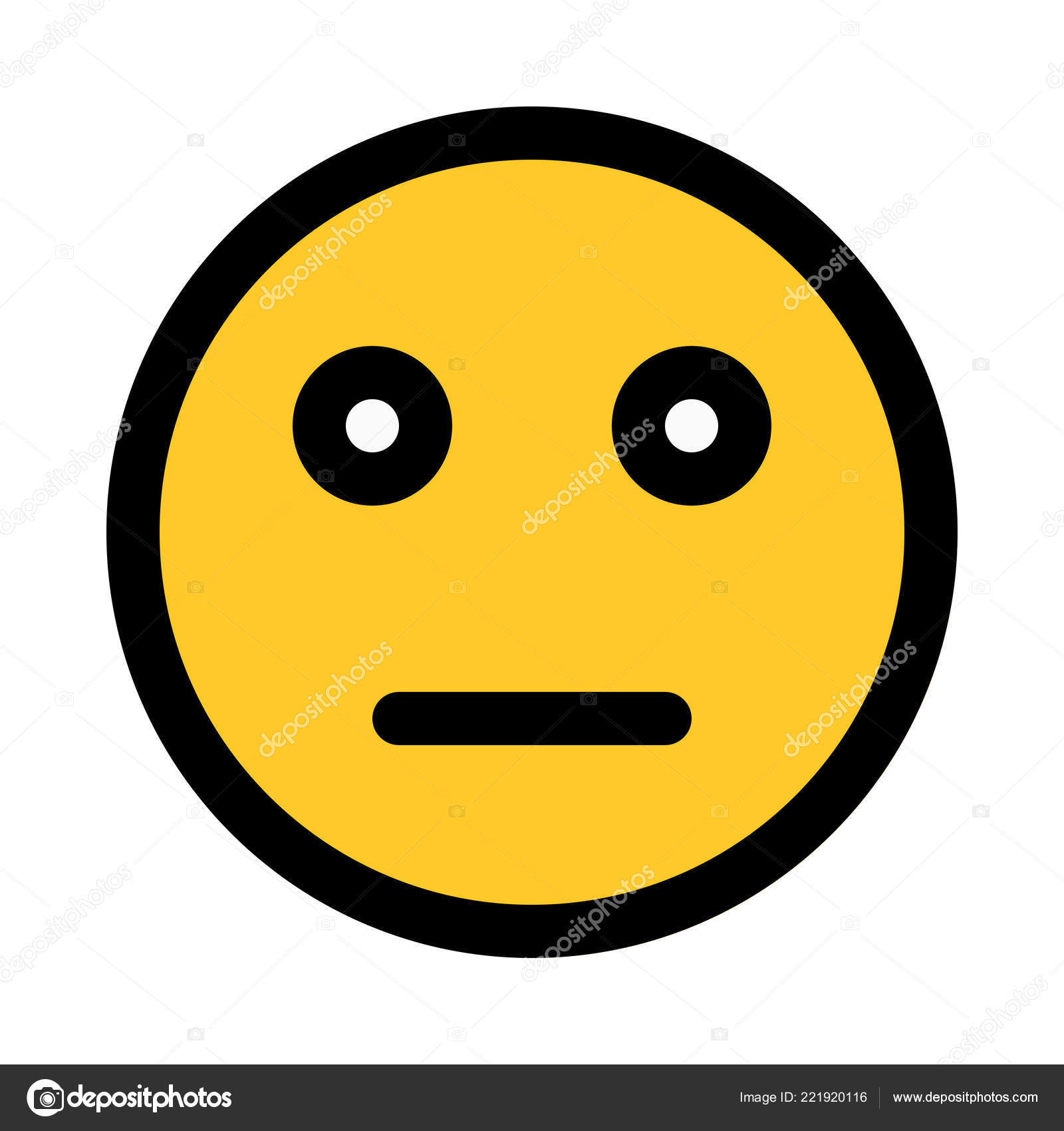 Expressionless Neutral Emoji Colorful Vector Illustration Stock