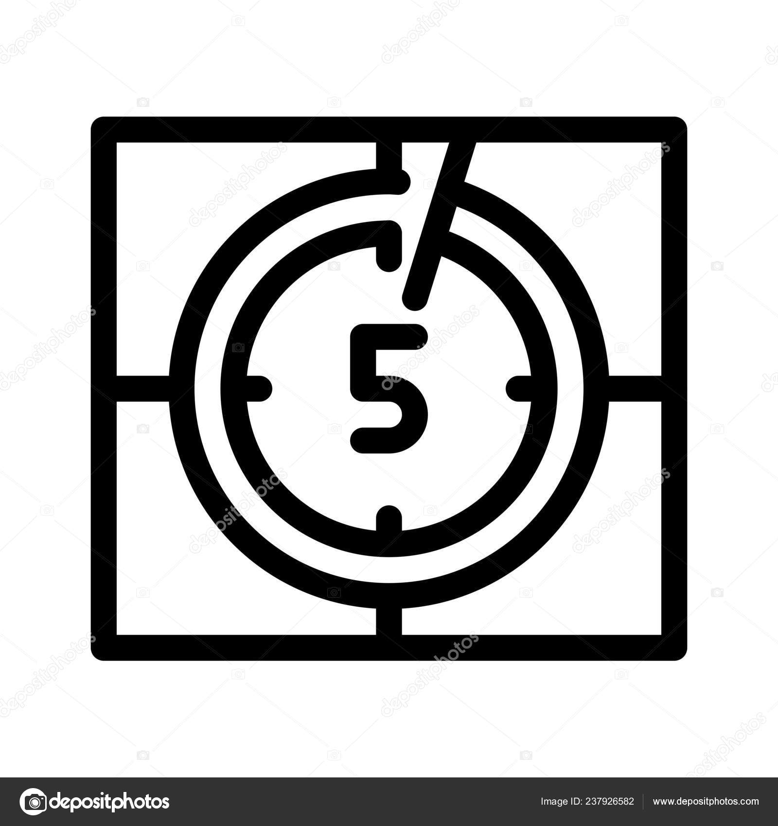 Video Countdown Timer Icon Vector Illustration — Stock