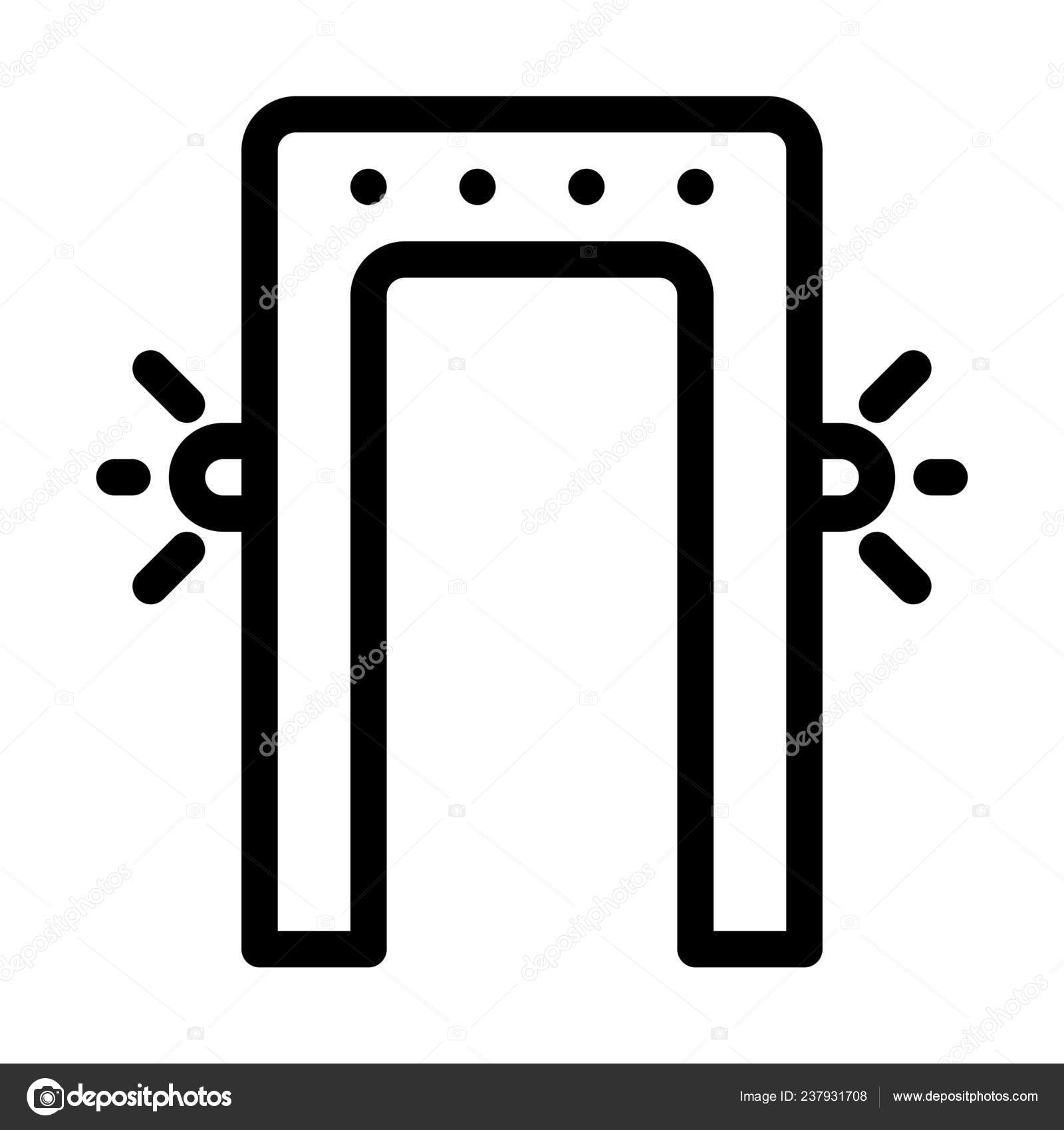 Ilustración Línea Simple Scan Puerta Seguridad — Vector de