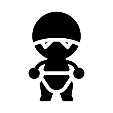 robot, simple black line illustration on white background