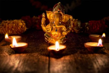 Ganesha with Diwali lights