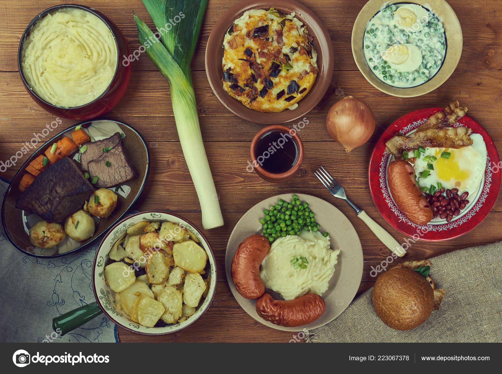 Cucina Inglese Gran Bretagna Tradizionale Assortiti Piatti Vista ...