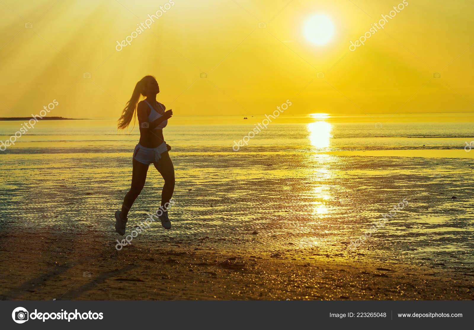 Silhouette Girl Running Sea Beach Sunrise Sunset Black Beach