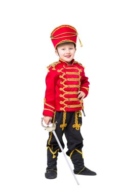 Smiling little boy wearing like hussar isolated on white background