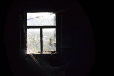 old window and dark around