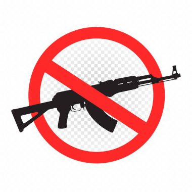 Weapon forbidden sign icon on white transparent background. No guns allowed label. Shooting is prohibited