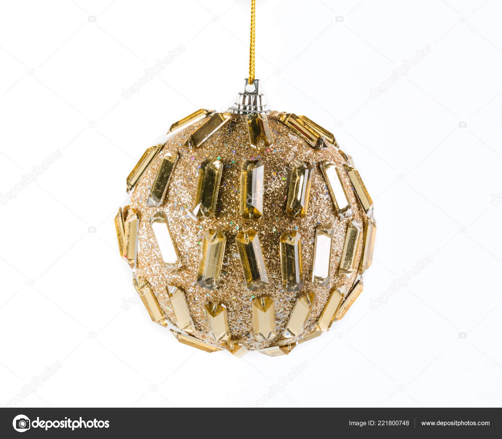 Boule Noël Doré Sur Fond Blanc Photographie Raikhel 221800748