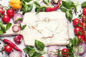 Fresh vegetables and herbs. Healthy food background. Top view