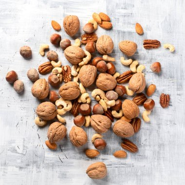 Pattern of nuts mix. Top view