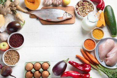 arrangement of products for balanced diet, healthy cooking concept