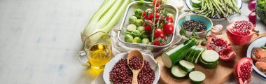Panoramic view of Seasonal vegan cooking ingredients on tabletop, healthy food concept stock vector