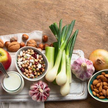 Probiotic rich foods. Healthy diet eating. Top view stock vector
