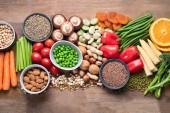 Egészségeledel a vegán főzéshez. Élelmiszerek magas antioxidáns, carbo