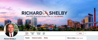 Twitter page for Richard Shelby. Richard Craig Shelby is an American politician serving as the senior United States Senator from Alabama. First elected to the U.S. Senate in 1986, he is the Chairman of the Senate Appropriations Committee, succeeding