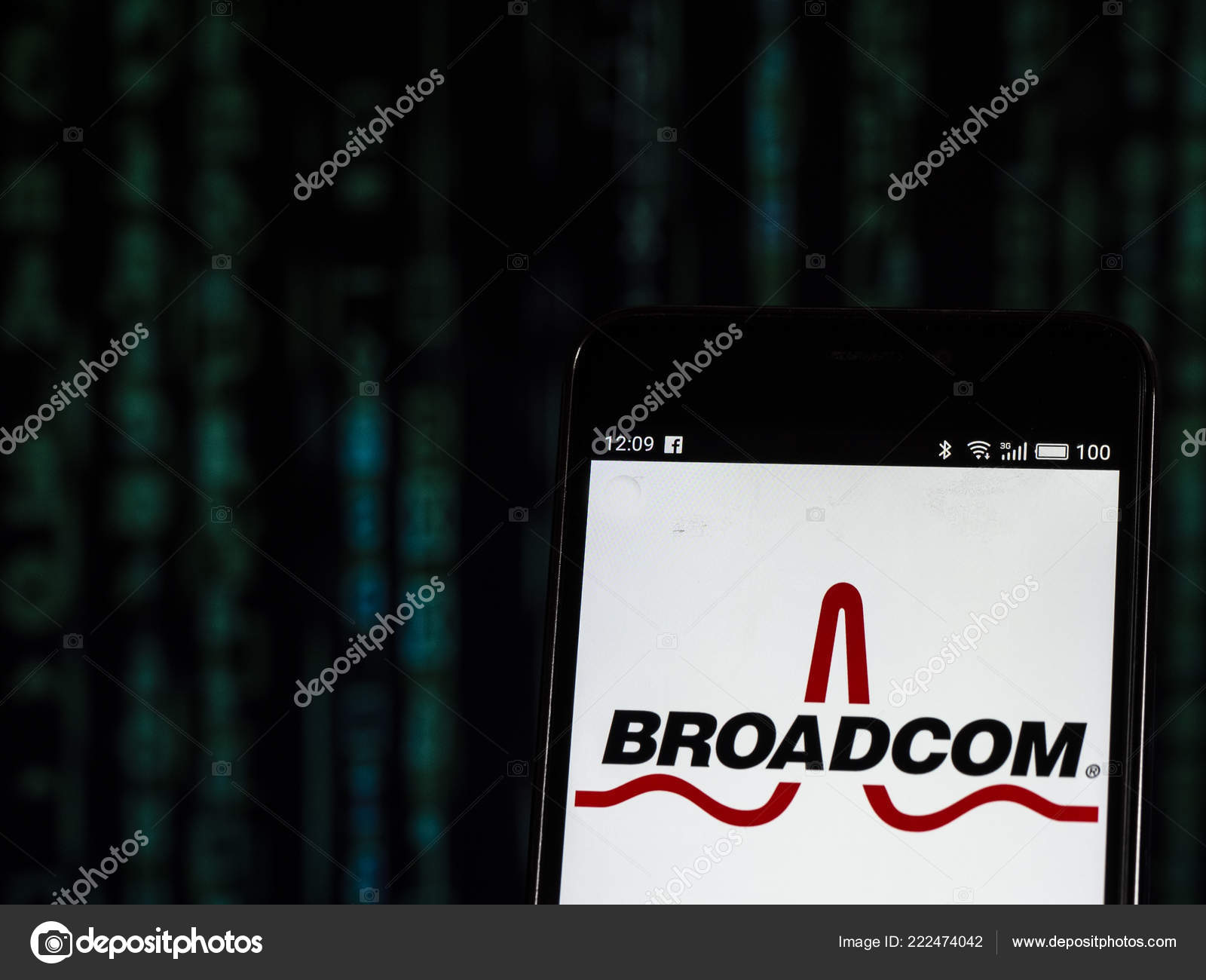 Kiev Ukraine Oct 2018 Broadcom Inc Semiconductor Company Logo Seen