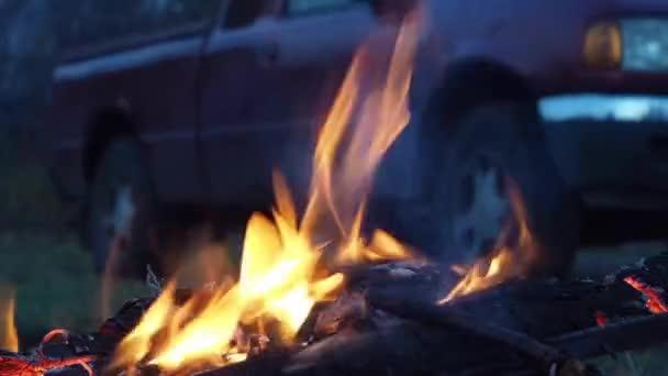 Detailní záběr bonfire flames táboráku