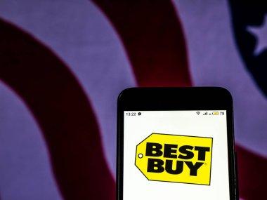 KIEV, UKRAINE - Dec 11, 2018:  Best Buy Consumer electronics company logo seen displayed on smart phone.