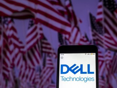 KIEV, UKRAINE - Dec 10, 2018:  Dell Technologies Information technology company  logo seen displayed on smart phone.