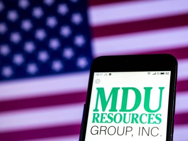 KIEV, UKRAINE - Jan 8, 2019: MDU Resources Construction company logo seen displayed on smart phone.