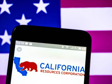 KIEV, UKRAINE - Feb 17, 2019: California Resources Corporation logo seen displayed on smart phone