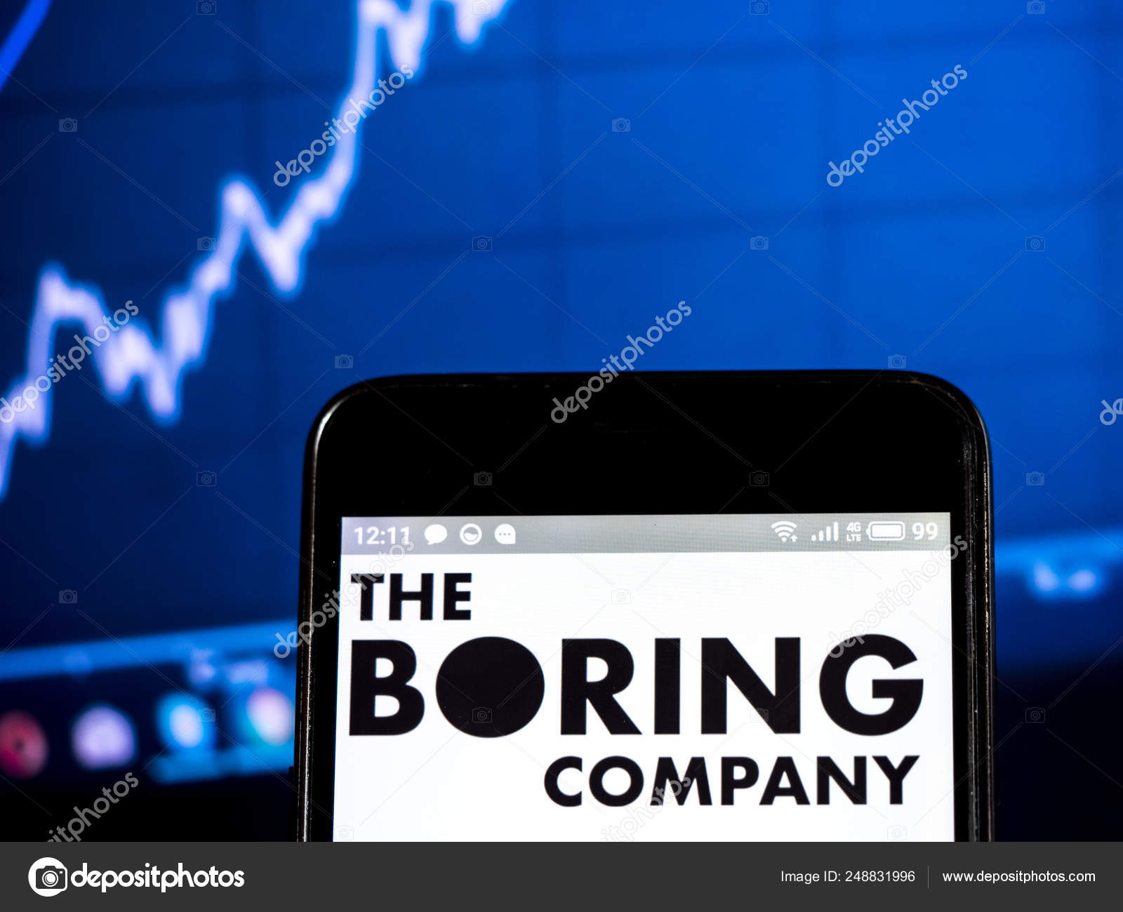 The Boring Company logo seen displayed on smart phone