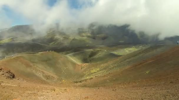 Crater Silvestri Superiori (2001m) on Mount Etna, Etna national park, Sicily, Italy. Silvestri Superiori - lateral crater of the 1892 year eruption. Volcanic foggy landscape. Time Lapse