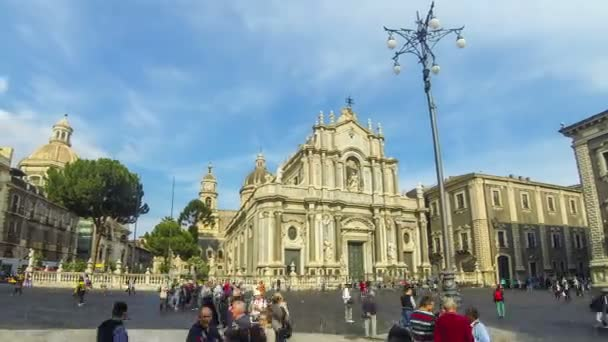 CATANIA, ITALY - MAY 15, 2018: Panoramic view of Cathedral Square (Piazza Duomo) and Cathedral of Santa Agatha (Catania Duomo) in Catania city, Sicily, Italy. Time Lapse
