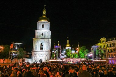 KYIV, UKRAINE - JULY 1, 2018: Night view of Sofiyivska Square in Kyiv during the public concert