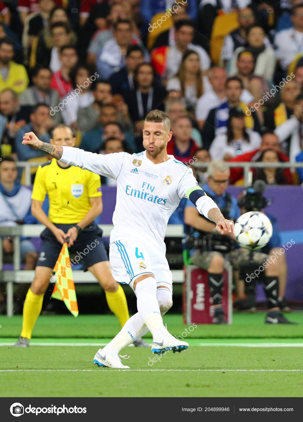 beefab5ee KYIV, UKRAINE - MAY 26, 2018: Sergio Ramos of Real Madrid kicks a ball  during the UEFA Champions League Final 2018 game against Liverpool at NSC  Olimpiyskiy ...