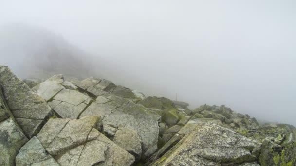 Mlžné mraky plovoucí skrz rocky mountains