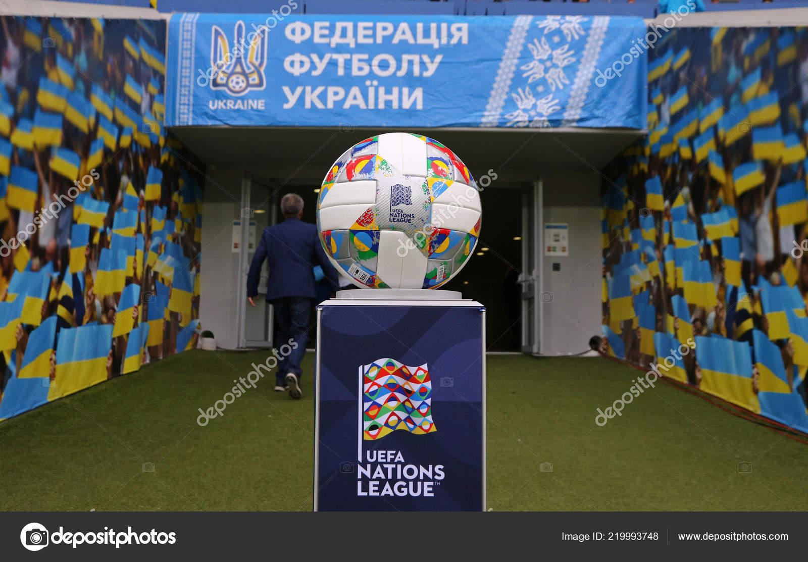 3cf72144fd Lviv Ucrânia Setembro 2018 Adidas Liga Nações Bola Oficial Uefa ...