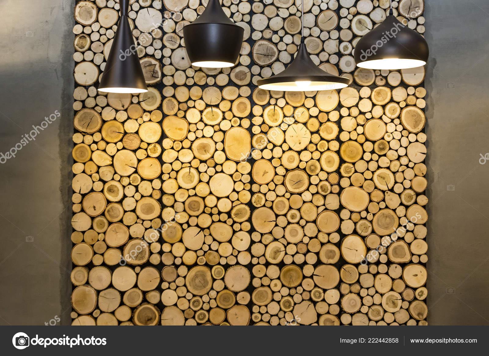 ściany Zdobią Drewniane Panele Dekoracyjne Widok Przodu