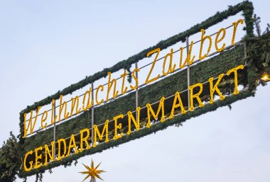 Entrace welcome sign of Gendarmenmarkt Christmas Market in Berlin, Germany. One of the most famous Christmas market in Europe