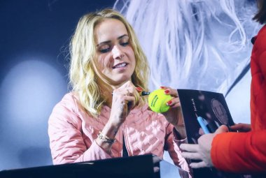 KYIV, UKRAINE - NOVEMBER 9, 2018: Ukrainian tennis player Elina Svitolina signing her autograph as she attends a meeting with her fans during an autograph session in Kyiv. Elina Svitolina - first Ukrainian player, who won the WTA Finals
