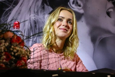 KYIV, UKRAINE - NOVEMBER 9, 2018: Ukrainian tennis player Elina Svitolina smiles as she attends a meeting with her fans during an autograph session in Kyiv. Elina Svitolina - first Ukrainian player, who won the WTA Finals