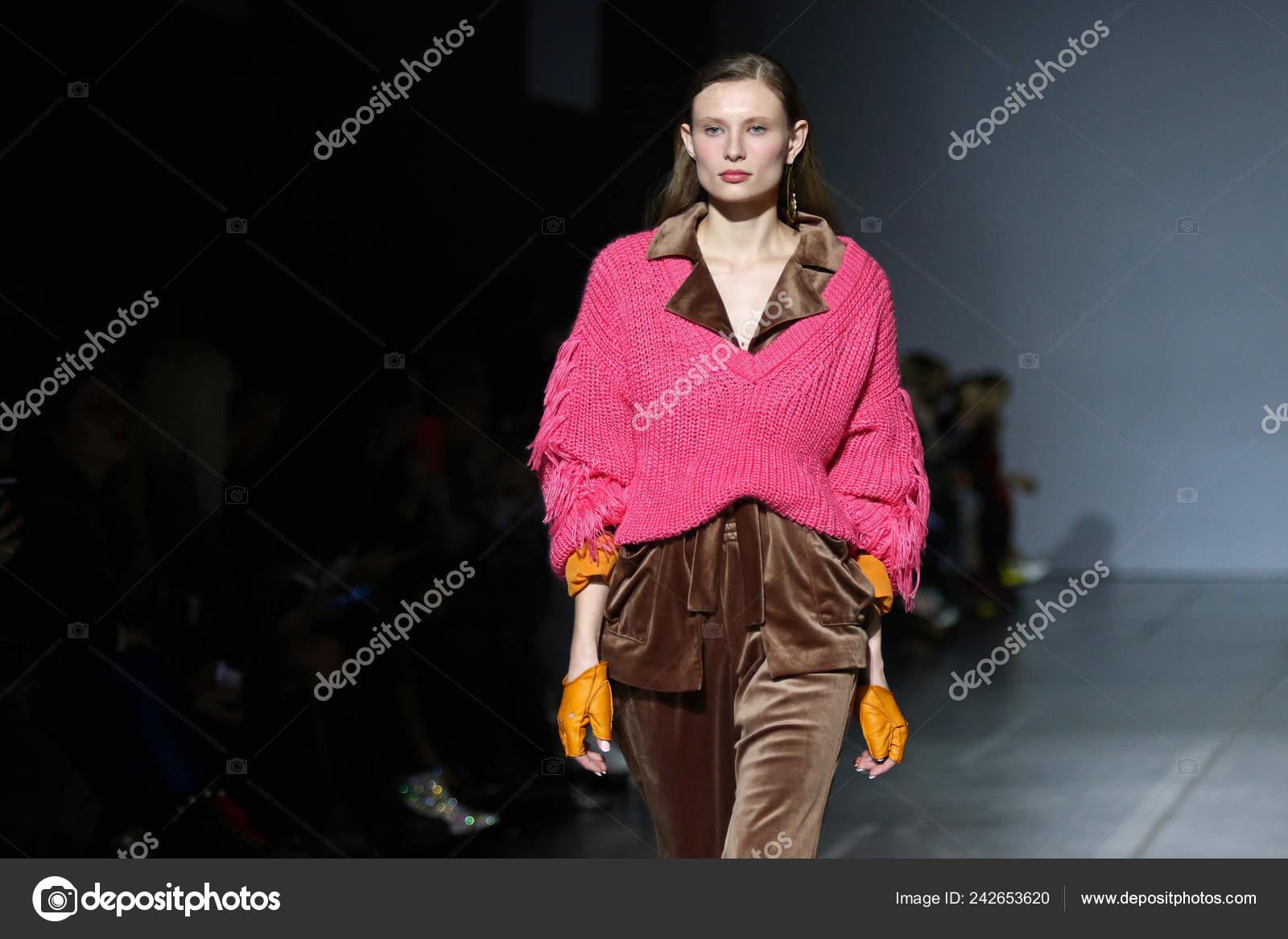 9db14972d97 KYIV, UKRAINE - FEBRUARY 3, 2019: Model presents a fashion creation of  A/RAISE brand during the 44th Ukrainian Fashion Week season Fall/Winter 2019/20  at ...