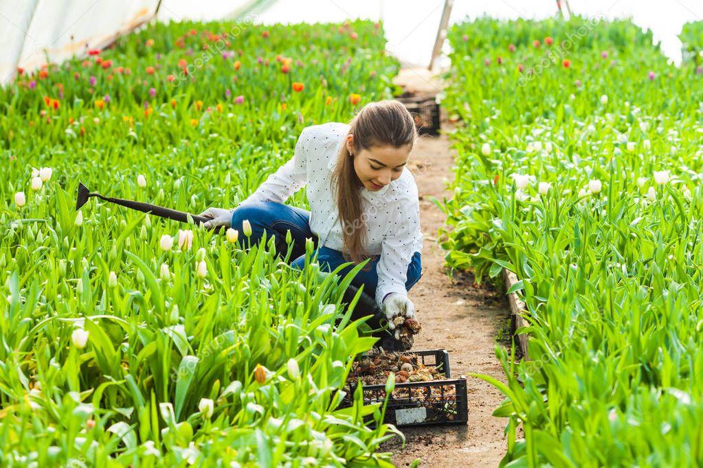 Gardener woman works