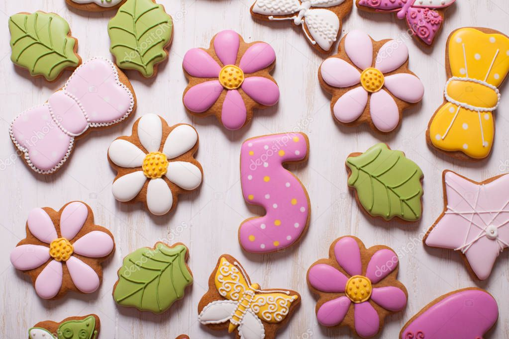 Sweet holiday gingerbreads for little girl, top view