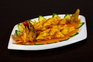Chinese cuisine pike perch with sauce
