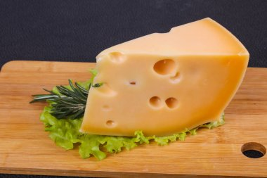 Maasdam cheese on the board served salad leaves and rosemary