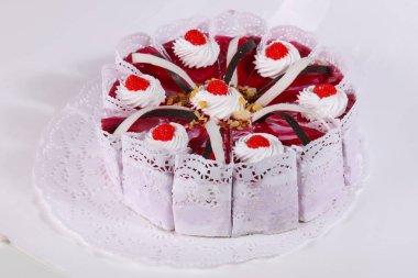 Tasty Cake with cream flowers
