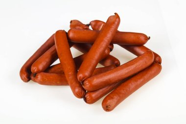 Tasty meat sausages ready for eat over white background
