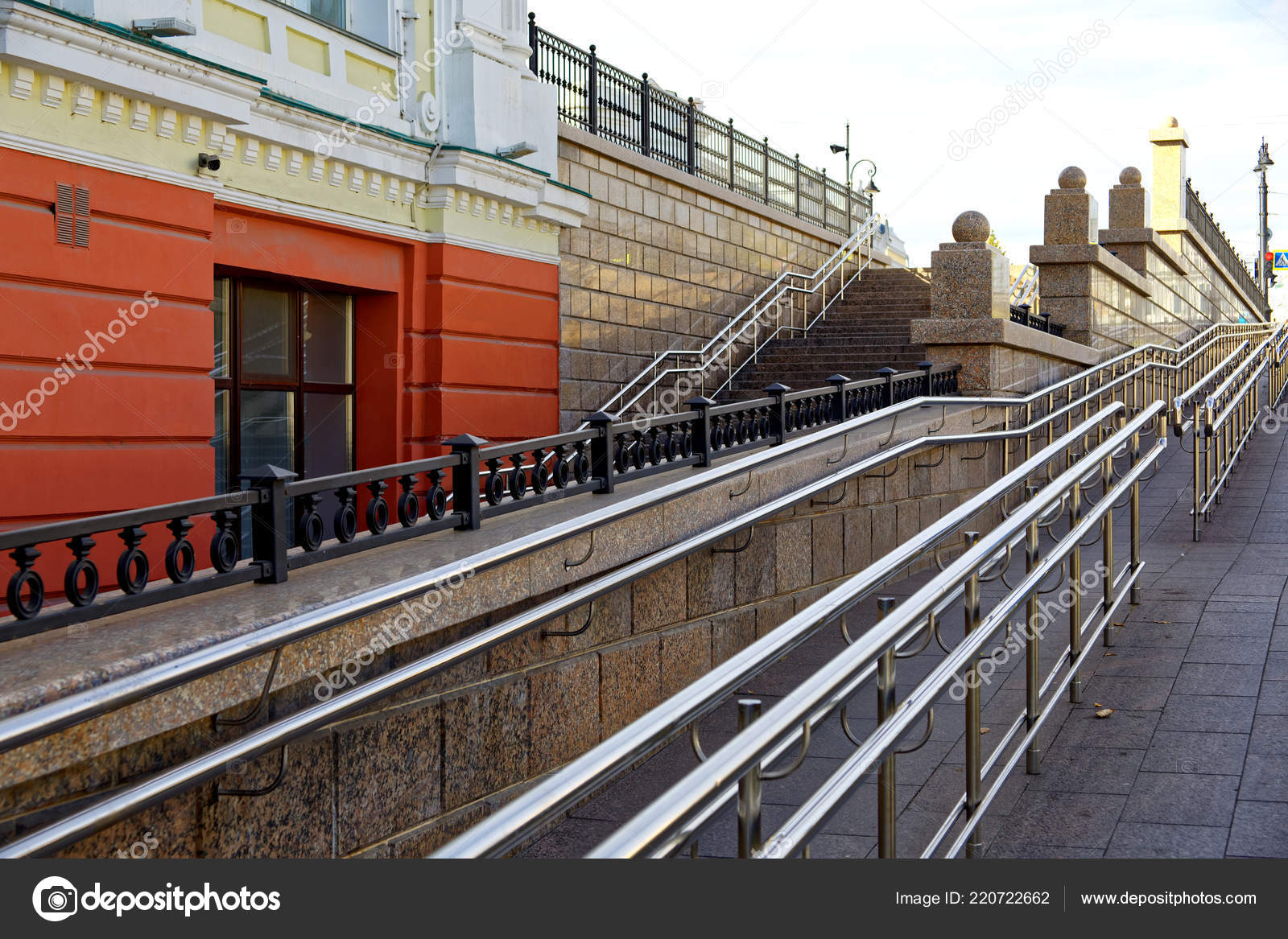 Omsk Russia Large Steep Wheelchair Ramp Next Regular